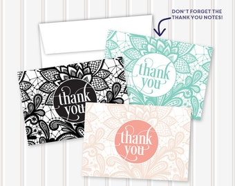Vintage Lace Thank You Notes | 3.5x5 | folded