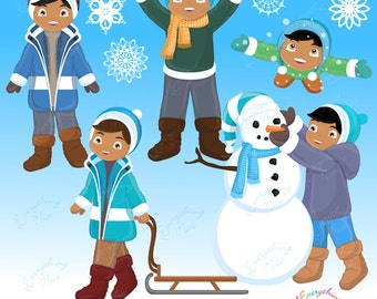 Playtime in the Snow African-american Boys Clipart Set