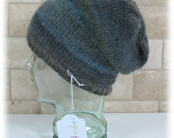 Slouchy Hat-Multi Colored Gray Tones-Knitted-Unisex
