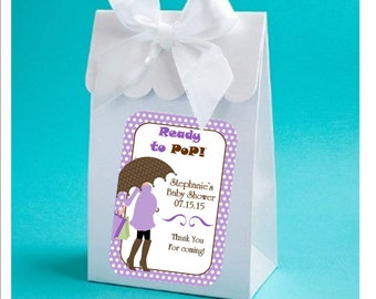Favor Boxes - Lavender ready to pop baby shower favor boxes - baby girl shower favors, baby shower favor box - set of 12