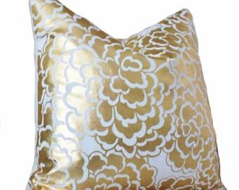 Caitlin Wilson Lumbar Pillow -Gold Metalic Pillow - Gold Home Decor - Designer Floral Pillow Cover - Gold White Pillow