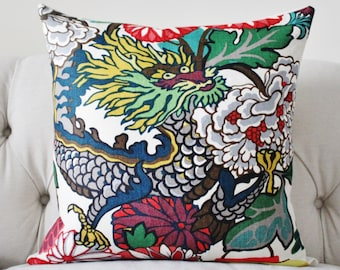 Alabaster Chiang Mai Dragon - Schumacher - Blue Turquoise Teal Coral Purple Pink Pillow - Designer Pillow Cover