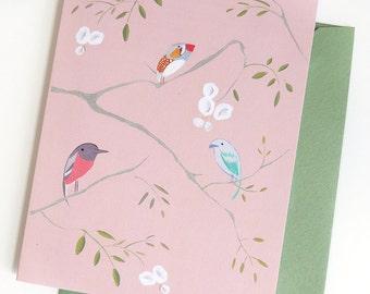 Aviary  (Bird wallpaper) Set of 5 cards