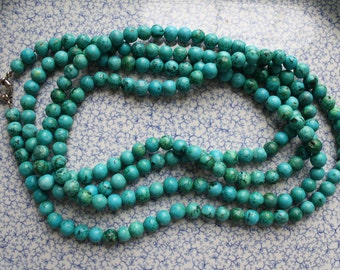 Vintage genuine dyed turquoise beaded necklace