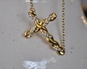 Gold Rhinestone Sideway Breaded Cross Necklace