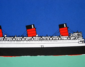 Cunard Liner - Queen Mary - limited edition screenprint