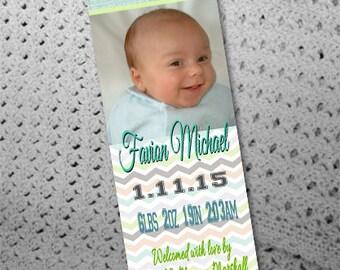 50, 100 or 150 Custom Birth Announcement Photo Bookmarks