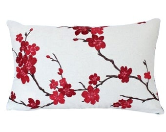 Decorative Lumbar Pillow with Embroidered Red and Pink Cherry Blossoms