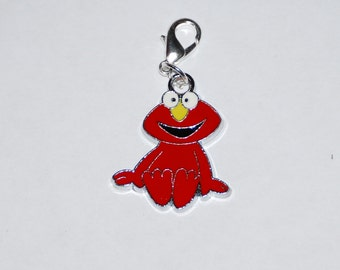 Cute Sesame Street  Elmo Enamel Clip Charm, zipper pull, backpack, cell phone, purse clip, bracelet, necklace or scrapbooking.