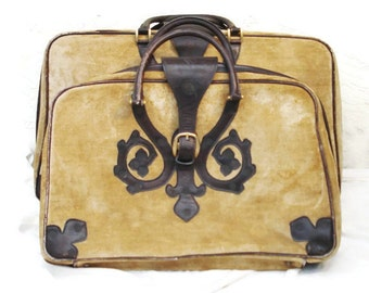 Rare Vintage Italian Suitcases Saks Fifth Avenue / Fawn Velvet and Leather Suitcases / Vintage Suitcases Leather Brass Fittings
