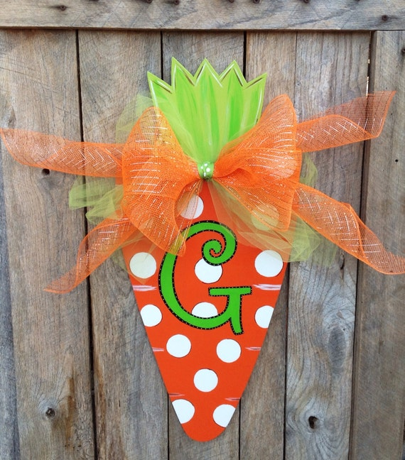 Easter Carrot Door Hanger Spring Decor Front By Theredwoodbarn