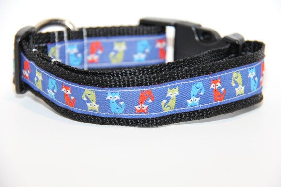 Fox Dog Collar, FREE SHIPPING, foxes, dog collar, adjustable dog collar