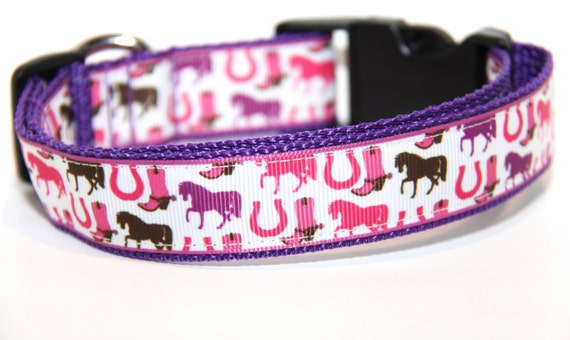 Cowgirl  Dog Collar FREE SHIPPING, Horses, Horseshoe, pink and purple dog collar