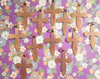 12 Coppercoated 38mm Crosses