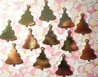 12 Goldplated Christmas Tree Charms