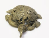 Large African Turtle Brass Pendant, Adinkra Symbol Pendant, Akan Pendant (G89)