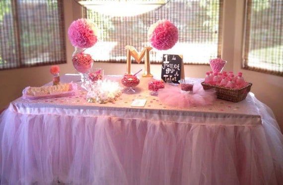 Tutu Table Skirt Wedding Shower Baby Shower Head Table Cake