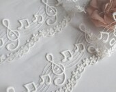 2 yards cute music note floral lace with scalloped edges.  Wedding lace.  Veil.  Dress skirt clothes making.  Curtain bottomming.