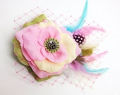 Pastel Pink Candy color Bridal Hair Clip Accessory Romantic wedding Rose Fascinator feathers Antique Button original unique hair clip