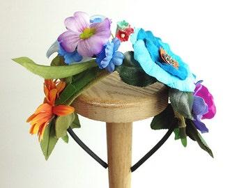 Flower Girl Headband Blue Rose Wedding Headband Antique Button Vintage silk flowers First Holy Communion