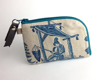 Blue Toile Linen Personal Card Zipper Pouch