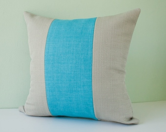 Turquoise pillow cover, teal decorative throw pillow, grey cushion cover, accent pillow, mint cushion cover, modern pillow - 18x18 inches