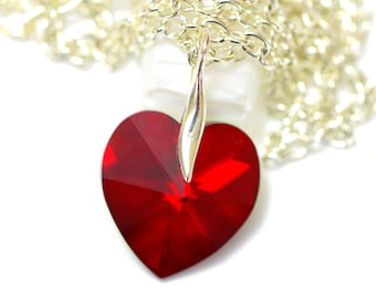 Heart Necklace Red Necklace Bridesmaid Necklace Swarovski Crystal Heart Siam Red Heart Pendant Valentine Day Gift Sterling Silver SI37N