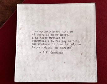 """Decoupaged glass tray, E.E. Cummings """"i carry your heart ..."""" poem, 1950's Remington typewriter"""