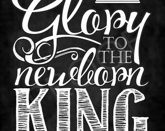 "Christmas Carol ""Glory to the Newborn King"" Chalkboard Style Art"