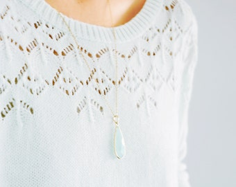 Aqua Heirloom Pendant Necklace (long, layering, 14k gold filled necklace, large teardrop chalcedony)