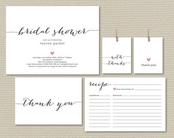 Printable Bridal Shower Invitation, Recipe Card, Thank You Card, Favor Tags, Simple & Sweet Love heart design (PP47)