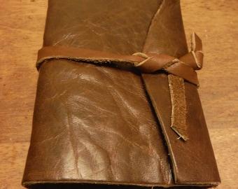 SALE Small Brown Luxury Leather Pocketbook (blank), leather strap closure (SMLuxury1*240pg) Journal Sketchbook