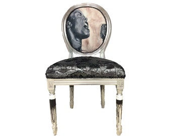Pop Art Accent Chair French Louis XVI Side Chairs Billie Holiday