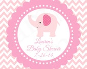 "Pink Elephant Favor Tags 2.5"" Scalloped Circle DIY Printable Gift Tags"