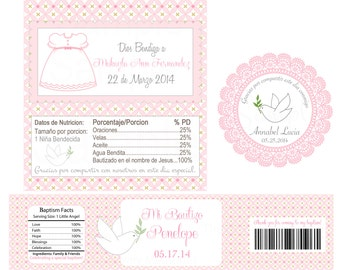 Boy or Girls Pink First Communion, baptism, Holy Communion personalized Labels - Printable file