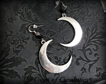 Gothic crescent moon dangle earrings.