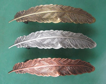 Feather French Barrette 70MM- Barrettes and Clips- Feather Hair Accessory-