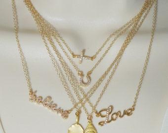 SALE! SALE! Charm necklace, Heart Charm, Buddha Charm, Love Necklace, Cross Necklace, Hamsa Necklace, Horseshoe Necklace, Lotus Flower