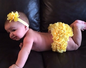 Front and Back Yellow Hydrangea Diaper Cover