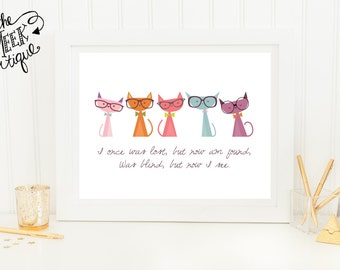 INSTANT DOWNLOAD, Amazing Grace Lyrics, Cats with Glasses, Printable, No. 323