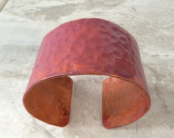 Rustic Hammered Copper Cuff Bracelet with Orange and Purple Patina, Handmade
