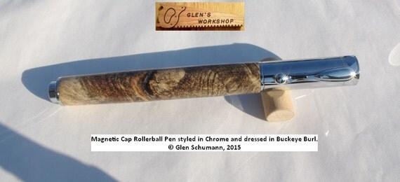 Zen Rollerball Pen Chrome, Handmade Buckeye Burl