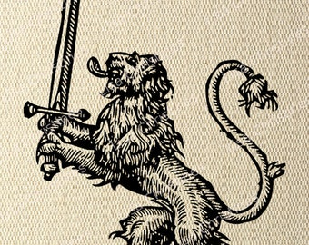 Clipart Digital Transfer Image Lion with Sword Illustration, Instant Download for Paper crafts, Fabric, Pillows, Towels, Scrapbooking 295
