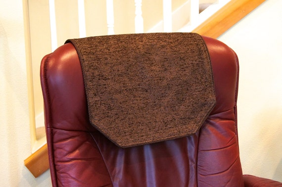 recliner chair headrest cover large chocolate brown chenille