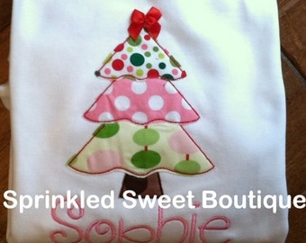 Cute Christmas Tree Applique Shirt