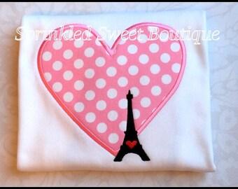 Paris Love Girls Eiffel Tower Valentines Day Applique Shirt