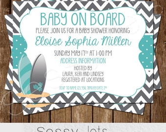 Baby on Board Baby Shower Invitation - Surfer Baby Shower Invite - Teal Grey Gray