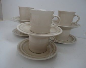 Vintage Set of Six Coffee Mugs with Saucers by Jepcor Made in Korea Mid Century Beige Coffee Mugs Tan Coffee Mugs Cups and Saucers Jepcor