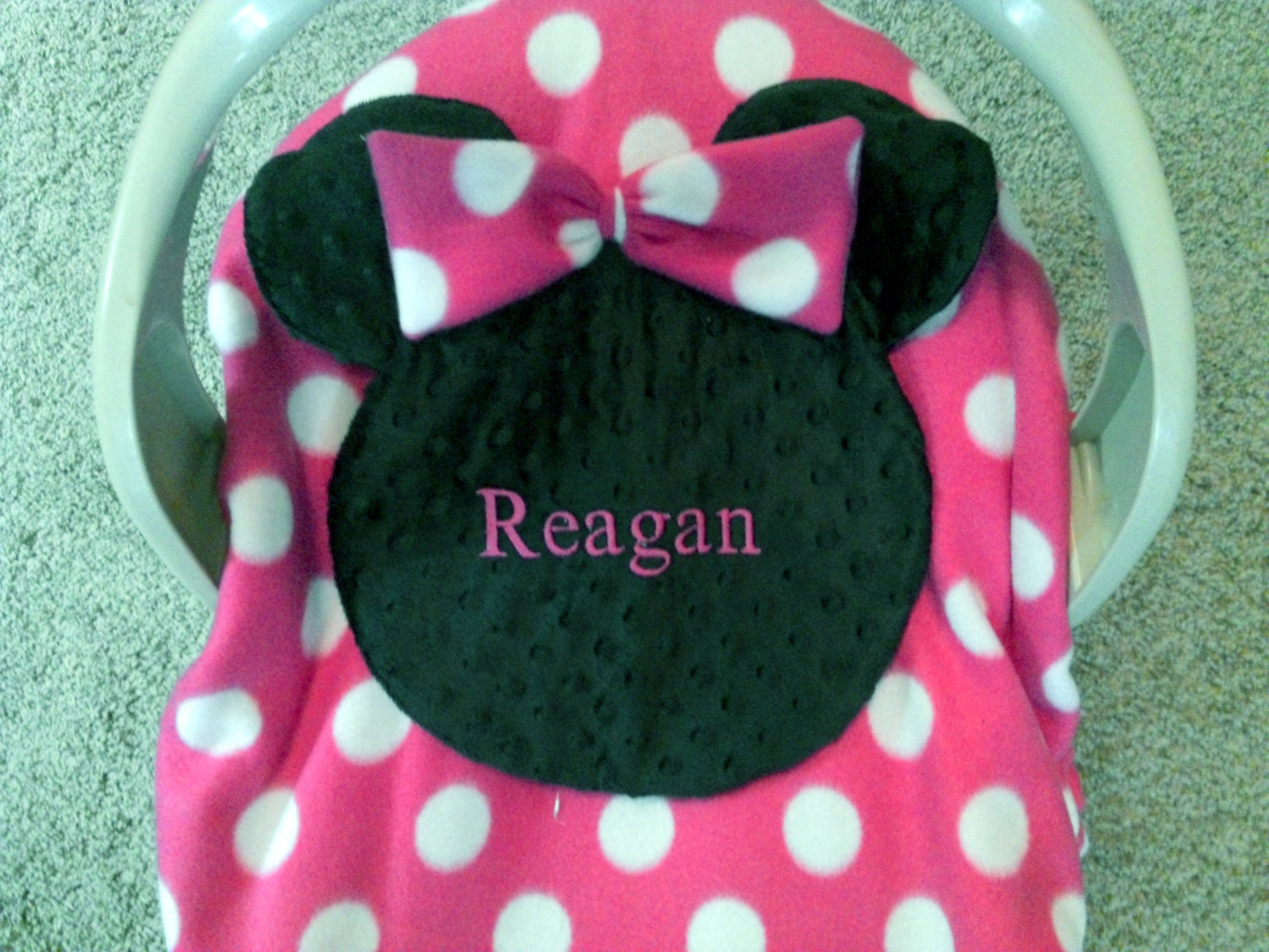 Personalize Pink Minnie Mouse Carrier Cover Infant Car Seat