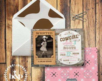 Cowgirl Wanted Poster Photo Birthday Party Invitation